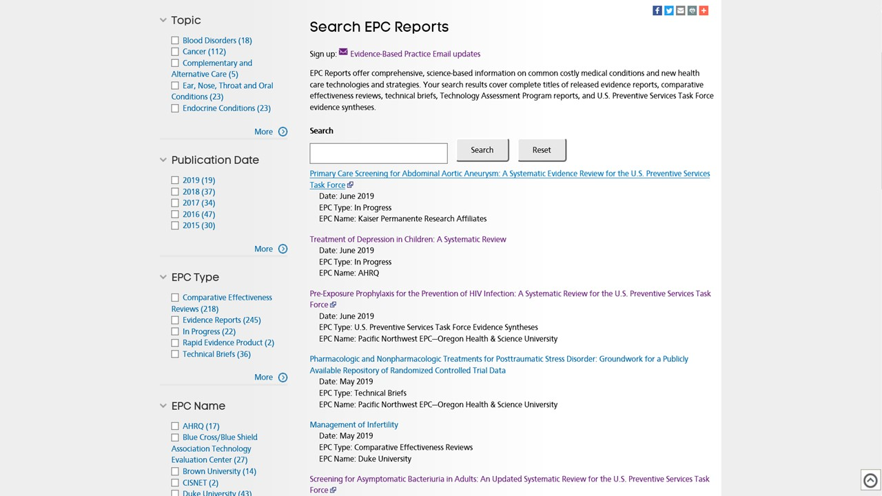 EPC Reports Search Page