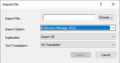 EndNote Import menu