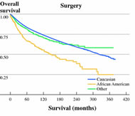 Fig 1. Kaplan-Meier analyses indicating differences in overall and melanoma-specific survival between patients who had surgery and patients who did not have surgery stratified by race.