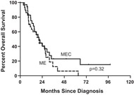 Fig 1. Overall survival from start of MEC or ME by type of treatment.