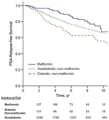 Fig 1. Unadjusted Kaplan-Meier curves for prostate-specific antigen (PSA) relapse-free survival among metformin, diabetic non-metformin, and nondiabetic groups.