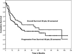 Fig 1. Overall Survival and Progression-Free Survival in All Patients.