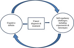 Fig 1. Heuristic model of bi-directional relationships between cognitive deficits and self-regulatory challenge following cancer.