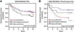 Fig 3. Kaplan–Meier survival analysis in GEICAM/9906 and METABRIC data sets based on the PAM50 proliferation score. Patients with (A) TNBC and (B) TNBC and BLBC treated with adjuvant chemotherapy in GEICAM/9906.