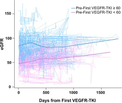 Fig 1. Plot of estimated glomerular filtration rate (eGFR) over time for 130 metastatic renal cell carcinoma patients starting at first administration of vascular endothelial growth factor receptor tyrosine kinase inhibitors (VEGFR-TKI), stratified by baseline eGFR.