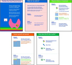 Fig. 1 Screen shots of representative cards of Thyroid Cancer Treatment Choice.