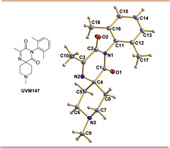 Fig. 2 Molecular structure of methyl spiro-2,6-dioxopyrazine UVM147 based on X-ray crystallographic analysis.