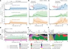 Fig 1.  Immune reconstitution and microbiome dynamics after HCT.