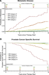 Figure 1. Estimated probabilities of developing metastatic disease (A) and prostate cancer specific survival (B) after definitive treatment of localized prostate cancer stratified by MRI category.