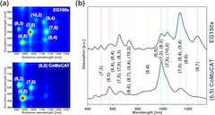 Fig 1. (a) 2D PLE maps of unsorted and (6,5)-enriched SWCNT materials dispersed in aqueous SC solution. (b) Corresponding optical absorption spectra.
