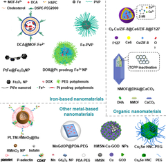 Fig 1. Representative nanomaterials for CDT, including iron-based nanomaterials, organic nanomaterials and other metal-based nanomaterials.