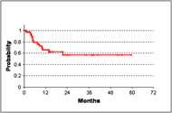 Fig 3. In-field local progression-free survival for all patients treated with intraoperative radiation therapy.