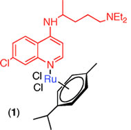 Fig 1. The new Ru(II) chloroquine complexes have been synthesized and characterized by use of a combination of NMR and FTIR spectroscopy with DFT calculations.